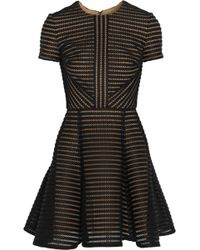 Elie Saab Striped Honeycomb-Mesh And Brushed-Satin Mini Dress - Lyst