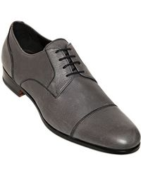 Bruno Magli Hammered Leather Derby Laceup Shoes - Lyst