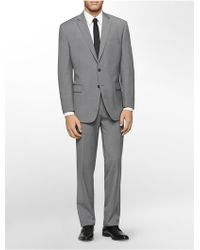 Calvin Klein White Label Classic Fit Grey Plaid Suit - Lyst