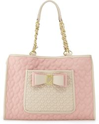 Betsey Johnson Twotone Quilted Heart Tote Bag Blush - Lyst