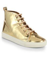 Ralph Lauren Collection Silvana Metallic Leather High-Top Sneakers - Lyst