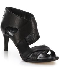 Stuart Weitzman Hugme Leather Crisscross Sandals black - Lyst