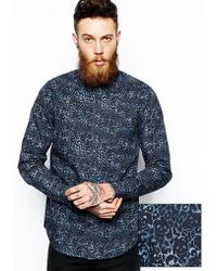 Asos Smart Shirt in Long Sleeve with Skull Camo Print - Lyst