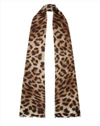 Jaeger Natural Leopard Scarf - Lyst