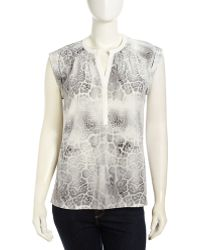 Rebecca Taylor Sleeveless Animal-Print Silk Blouse - Lyst