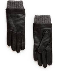 Mango   Leather Wool-Blend Gloves   Lyst