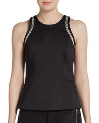 Helmut Lang Snake Embossed Leather Trimmed Top - Lyst