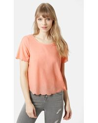 Topshop Scallop Frill Tee orange - Lyst