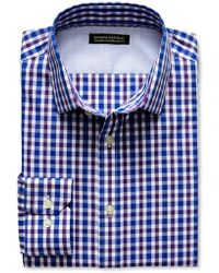 Banana Republic Tailored Slim Fit Non Iron Two Tone Gingham Shirt Damselfish Blue - Lyst