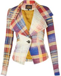 Vivienne Westwood Anglomania Navy Faded Tartan Whisper Jacket - Lyst
