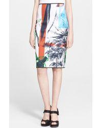 Clover Canyon 'Abstract Garden' Print Pencil Skirt - Lyst