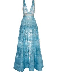 Elie Saab Blue Lace Deep V-neck Gown - Lyst