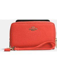 Coach Double Zip Phone Wallet In Crossgrain Leather - Lyst