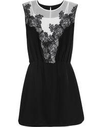 Sandro Silk-Crepe De Chine Mini Dress - Lyst