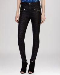 Karen Millen Jeans - Crackle Print Biker In Black - Lyst