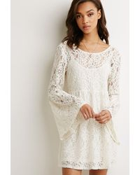 Forever 21 Bell-Sleeved Lace Dress - Lyst
