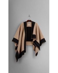 Burberry Wool And Cashmere Blanket Poncho black - Lyst