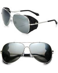 Roberto Cavalli Leather Detail 60mm Aviator Sunglasses - Lyst