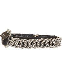 Goti Black Leather And Chain Bracelet - Lyst