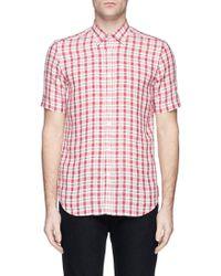 Canali Plaid Linen Shirt - Lyst