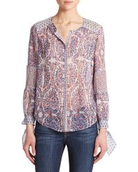 Rebecca Taylor Mixed-Print Blouse multicolor - Lyst