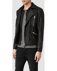 AllSaints Jet Leather Biker Jacket black - Lyst
