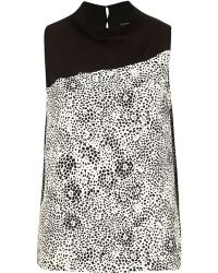 River Island Black Contrast Graphic Print High Neck Top - Lyst