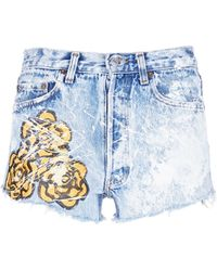 Rialto Jean Project - One Of A Kind Hand-painted Rose Vintage Denim Shorts - Lyst