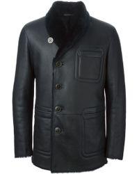 Giorgio Armani Buttoned Shearling Coat - Lyst