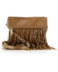 Elizabeth and James Andrew Fringed Leather Foldover Crossbody Bag brown - Lyst