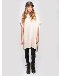 Look By M Soft Knit Poncho white - Lyst
