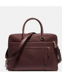 Coach Slim Brief in Polished Retro Glove Tan Leather brown - Lyst