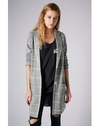 Topshop Check Print Throw On Coat - Lyst