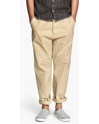 H&M Beige Tapered Chinos - Lyst