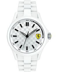Ferrari - Mens Scuderia Pit Crew White Silicone Bracelet Watch - Lyst
