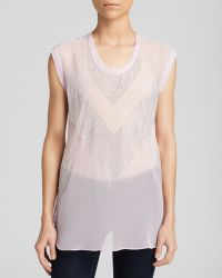 Rebecca Taylor Top - Sleeveless Embellished Silk - Lyst