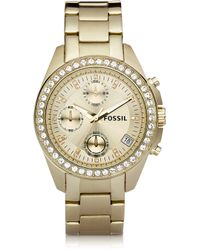 Fossil - Decker Ladies Chronograph Gold Tone Stainless Steel Watch - Lyst