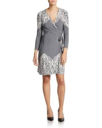 BCBGMAXAZRIA Adele Printed Lace Embroidered Wrap Dress - Lyst