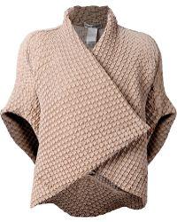 Issey Miyake Wrap-Style Textured Jacket - Lyst
