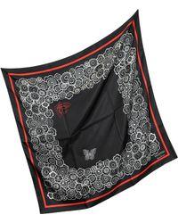 Valentino | Black & Red Mistery Print Silk Square Scarf | Lyst