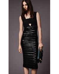 Burberry Fitted Silk Dress With Embellished Skirt - Lyst
