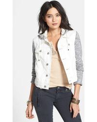 Free People Contrast-Sleeve Denim Jacket - Lyst