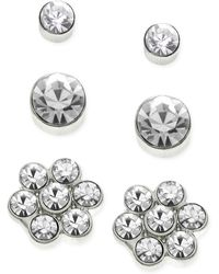 Guess Silvertone Glass Crystal Flower and Disc Stud Trio - Lyst