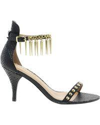 Elizabeth And James Elizabeth James Metal Heeled Sandal with Spike Detail Strap - Lyst