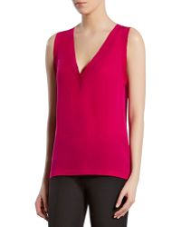 Gucci Fuchsia Silk Satin Georgette Vneck Top - Lyst