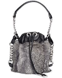 Jimmy Choo Evie Rabbit Fur Leather Bucket Bag - Lyst