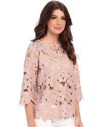 Aryn K. - Floral Cut Out 34 Sleeve Top - Lyst
