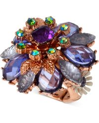 Betsey Johnson Rose Gold-Ton Faceted Bead Flower Stretch Ring - Lyst