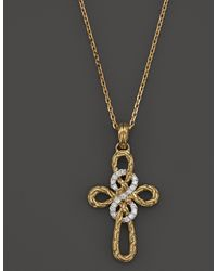 John Hardy Classic Chain 18k Yellow Gold Diamond Pave Small Cross Pendant Necklace 16 - Lyst