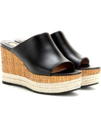 Ferragamo Maimei Leather Wedge Mules - Lyst